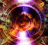 Ancient Mayan Calendar and light circle effect, abstract color Background, computer collage. Royalty Free Stock Photos