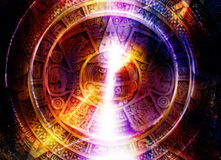 Ancient Mayan Calendar and light circle effect, abstract color Background, computer collage. Stock Photography