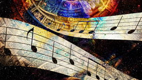 Ancient Mayan Calendar and  Music note, Cosmic space with stars, abstract color Background, computer collage. Royalty Free Stock Images