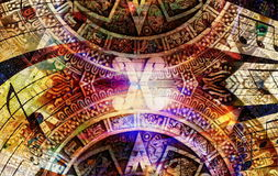 Ancient Mayan Calendar and  Music note, Cosmic space with stars, abstract color Background, computer collage. Ancient Mayan Calendar and  Music note, Cosmic Stock Image