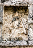 Ancient Mayan carving on the wall of the Temple of the Frescoes Royalty Free Stock Photos