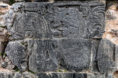 Ancient Mayan carvings at the Great Ball Court in Chichen Itza Stock Images