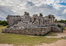 Stunning tulum mexico ancient civilization. Ancient mayan civilization in mexico called tulum in december 2017. Blue sky and green grass. One of the 7 wonders of Stock Images