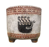 Ancient Mayan clay cup isolated. Ancient Mayan clay tripod leg cup with jaguar paw design.  Isolated on white Stock Image