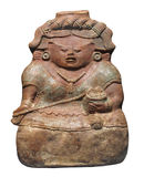 Ancient Mayan clay figure isolated Royalty Free Stock Photo