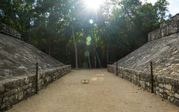 Ancient  mayan construction in the evening, Mexico. Ancient sport ground in Coba, Mexico Stock Images