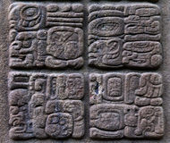 Ancient Mayan glyphs. In Qurigua, Guatemala stock photography