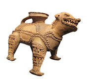 Ancient Mayan jaguar vessel isolated Royalty Free Stock Photo