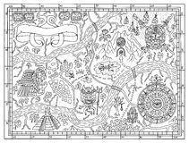 Ancient Mayan map in treasure hunt concept. Ancient Maya or pirate map for adult or kids coloring book. Hand drawn vector illustration with treasure hunt stock illustration