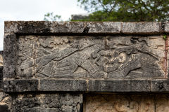 Ancient Mayan mural on the Platform of the Eagles and the Jaguar Royalty Free Stock Photo