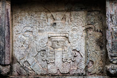 Ancient Mayan murals on the Venus Platform at Chichen Itza Stock Images