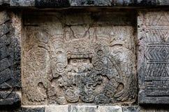 Ancient Mayan murals on the Venus Platform at Chichen Itza Stock Photography