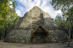 Ancient Mayan observatory  lost in the forest, Mexico Royalty Free Stock Photography