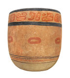 Ancient Mayan pottery bowl isolated. Royalty Free Stock Image