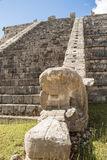 Ancient Mayan pyramid detail, Kukulcan Temple at Chichen Itza, Yucatan, Mexico Stock Photos