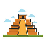 Ancient Mayan pyramid on green grass under sky with clouds. Isolated vector illustration on white background. Stepped construction with temple on top Stock Photo