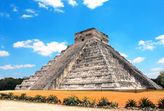 Ancient Mayan pyramid Kukulcan Temple, Chichen Itza, Yucatan,. Mexico. UNESCO world heritage site Stock Images