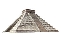 Ancient Mayan pyramid Kukulcan Temple, Chichen Itza, Yucatan,. Mexico. UNESCO world heritage site. Isolated on white background stock image