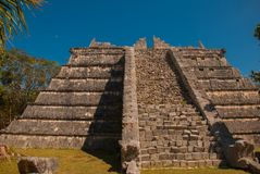 Ancient Mayan pyramid with steps. The old ruined city of the Maya. Chichen-Itza, Mexico. Yucatan.  royalty free stock photo