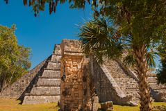 Ancient Mayan pyramid with steps. The old ruined city of the Maya. Chichen-Itza, Mexico. Yucatan.  royalty free stock photography