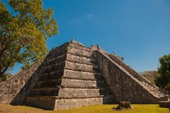 Ancient Mayan pyramid with steps. The old ruined city of the Maya. Chichen-Itza, Mexico. Yucatan.  stock images