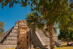 Ancient Mayan pyramid with steps. The old ruined city of the Maya. Chichen-Itza, Mexico. Yucatan.  stock photography