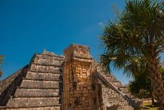 Ancient Mayan pyramid with steps. The old ruined city of the Maya. Chichen-Itza, Mexico. Yucatan.  royalty free stock photos