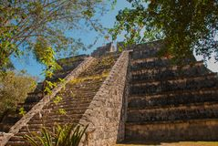 Ancient Mayan pyramid with steps. The old ruined city of the Maya. Chichen-Itza, Mexico. Yucatan.  stock image