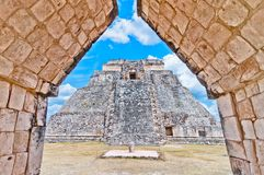 Ancient mayan pyramid in Uxmal, Yucatan, Mexico Stock Image