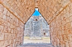 Ancient mayan pyramid in Uxmal, Yucatan, Mexico Royalty Free Stock Images