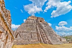 Ancient mayan pyramid in Uxmal, Yucatan, Mexico Stock Photos