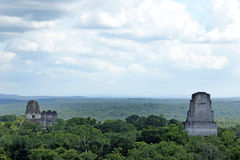 Ancient Mayan pyramids. In Tikal Guatemala Royalty Free Stock Image