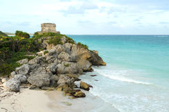 Ancient Mayan Ruin named God of Winds Temple. In Tulum, Mexico Royalty Free Stock Photo