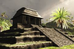 Ancient Mayan Ruins. 3D render featuring Mayan ruins in dramatic lighting. This image is loosely based on the Mayan ruins of Palenque Royalty Free Stock Photo