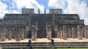 Ancient Mayan ruins near the ocean In Chichenitza Mexico. Royalty Free Stock Image