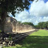 Ancient Mayan ruins near the ocean In Chichenitza Mexico. Stock Photo