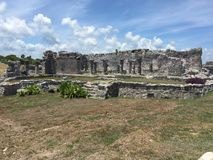 Ancient Mayan ruins near the ocean In Tulum, Mexico. The ancient mayan ruins  of Tulum, Mexico are breathtaking and awesome.  Located right by a beautiful Stock Photography