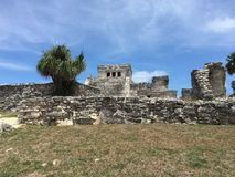Ancient Mayan ruins near the ocean In Tulum, Mexico. Royalty Free Stock Images