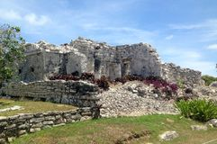 Ancient Mayan ruins near the ocean In Tulum Mexico. The ancient mayan ruins  of Tulum, Mexico are breathtaking and awesome.  Located right near the shoreline Stock Photography