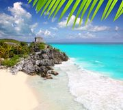 Ancient Mayan ruins Tulum Caribbean turquoise Royalty Free Stock Images