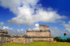 Ancient Mayan ruins Tulum Caribbean turquoise. Ancient Tulum Mayan temple ruins in Mexico Quintana Roo under blue sky royalty free stock image