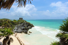 Ancient Mayan Ruins in Tulum, Mexico royalty free stock photography