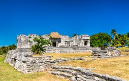 Ancient Mayan ruins at Tulum in Mexico. Ancient Mayan ruins at Tulum in the Quintana Roo State of Mexico stock photos
