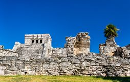 Ancient Mayan ruins at Tulum in Mexico. Ancient Mayan ruins at Tulum in the Quintana Roo State of Mexico stock image
