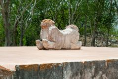 Ancient Mayan statue, which symbolizes a jaguar with two heads. In the archaeological area of Uxmal, in the Mexican Yucatan peninsula stock photo