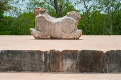 Ancient Mayan statue, which symbolizes a jaguar with two heads. In the archaeological area of Uxmal, in the Yucatan peninsula stock photos