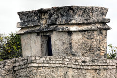 Ancient Mayan Temple of the Descending God in Tulum Stock Image