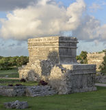 Ancient Mayan Temple. The ruins of an ancient Mayan temple constructed of stone near Tulum Mexico Stock Photos
