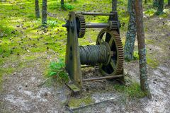 An ancient mechanism to tighten the rope. An ancient mechanism to stretch a great rope traps for birds at the ornithological station-Curonian spit, Kaliningrad Royalty Free Stock Photos