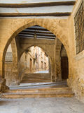 Ancient medieval arcades porch gallery Calaceite Stock Photography